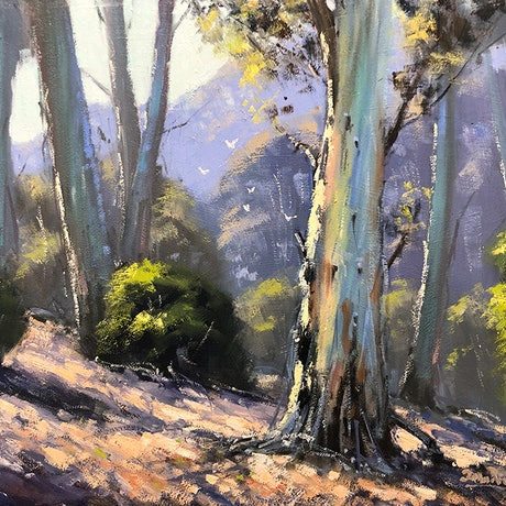 (CreativeWork) Along The Deua River valley by John Rice. Oil Paint. Shop online at Bluethumb.