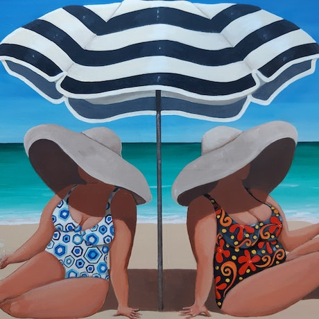 (CreativeWork) Shady ladies by Andrea Berry. Acrylic Paint. Shop online at Bluethumb.