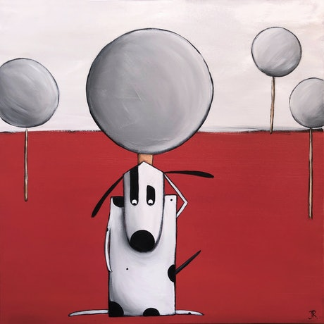 (CreativeWork) Dog #20 by Julie Robertson. Acrylic Paint. Shop online at Bluethumb.