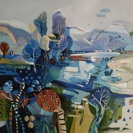 (CreativeWork) Abstract landscape  - Coastal Winter by Susan Trudinger. Acrylic Paint. Shop online at Bluethumb.