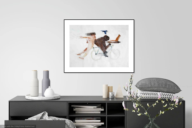 (CreativeWork) Biking with Girl, Gorilla,Cat and Wren (Poets on the Run) by John Graham. Mixed Media. Shop online at Bluethumb.