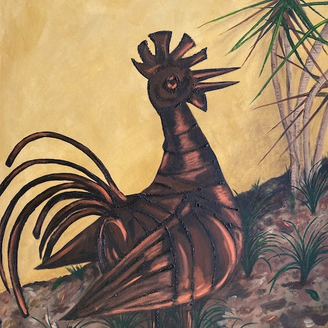 (CreativeWork) Metal Rooster by Lyndsey Hatchwell. Acrylic Paint. Shop online at Bluethumb.