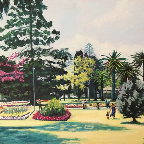 (CreativeWork) Queens Park Flower Gardens by Robyn Gray. Acrylic Paint. Shop online at Bluethumb.