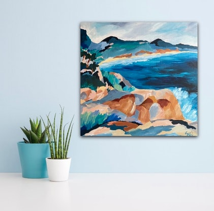 (CreativeWork) Hidden Bay by Sue Woolnough. Acrylic Paint. Shop online at Bluethumb.