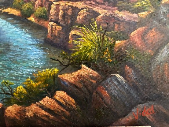 (CreativeWork) Katherine Gorge, Northern Territory by Christopher Vidal. Oil Paint. Shop online at Bluethumb.