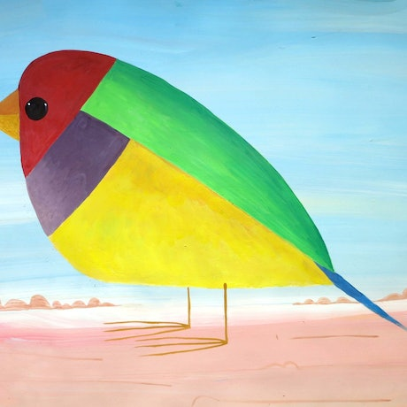 (CreativeWork) Gouldian Finch  by John Graham. Mixed Media. Shop online at Bluethumb.