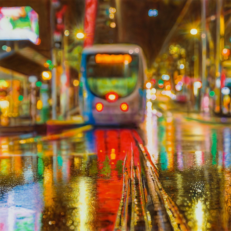 (CreativeWork) Summer Rain on Bourke Street  Ed. 1 of 25 by Todd Simpson. Print. Shop online at Bluethumb.