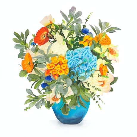 (CreativeWork) Blue Vase of Flowers -   Ed. 6 of 100 by Johanna Larkin. Print. Shop online at Bluethumb.