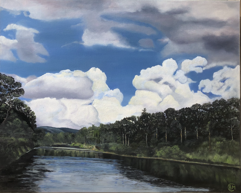 (CreativeWork) Storm brewing over Moggill by Bernadette McConville. Oil Paint. Shop online at Bluethumb.
