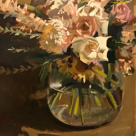 (CreativeWork) Mothers Day Bouquet by Ray Wilson. Oil Paint. Shop online at Bluethumb.