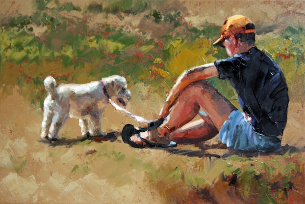 (CreativeWork) Boy and His Dog by Claire McCall. Oil Paint. Shop online at Bluethumb.