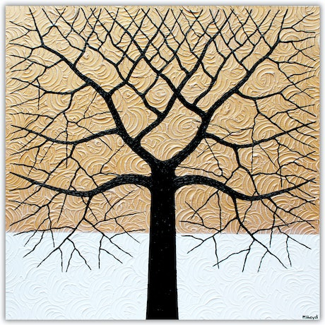 (CreativeWork) Tree - Golden Outback Abstract by Miranda Lloyd. Mixed Media. Shop online at Bluethumb.