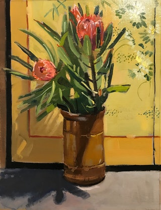 (CreativeWork) Proteas I by Ray Wilson. Oil Paint. Shop online at Bluethumb.