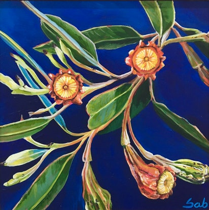 (CreativeWork) Fuchsia gum on royal blue by Sarah Abbott. Acrylic Paint. Shop online at Bluethumb.