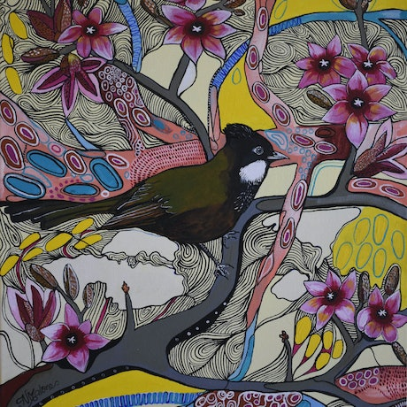 (CreativeWork) Lacebark and Whipbird by Naomi Malone. Acrylic Paint. Shop online at Bluethumb.