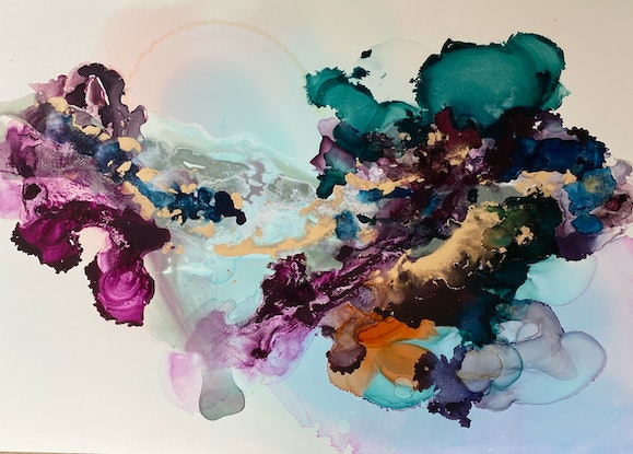 (CreativeWork) New Moon by Michelle Drougas. Mixed Media. Shop online at Bluethumb.