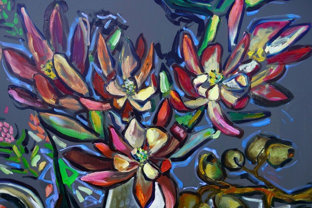 (CreativeWork) Still Life with Leucadendrons by Katerina Apale. Oil Paint. Shop online at Bluethumb.