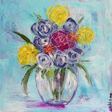 (CreativeWork) Abstract Roses in Vase by julie hollis. Acrylic Paint. Shop online at Bluethumb.