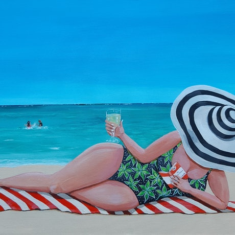 (CreativeWork) Beach, book and wine time by Andrea Berry. Acrylic Paint. Shop online at Bluethumb.