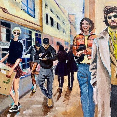 (CreativeWork) Posing in Melbourne by Alison Pilcher. Acrylic Paint. Shop online at Bluethumb.