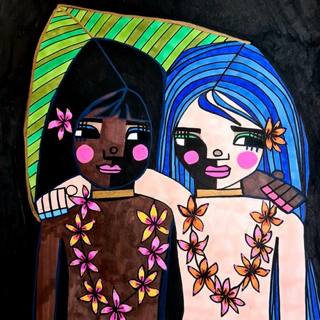 (CreativeWork) Best Friends wearing Leis  by jane ruggiero. Drawings. Shop online at Bluethumb.