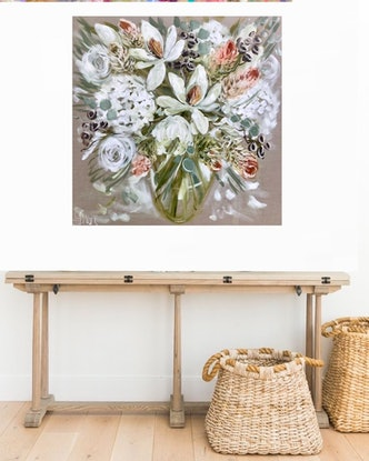 (CreativeWork)  Magnolia and bush natives by Amanda Brooks. Acrylic Paint. Shop online at Bluethumb.