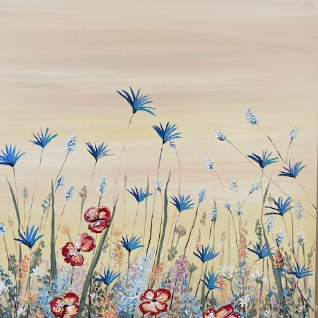 (CreativeWork) Meadow  by Jennie Jones. Acrylic Paint. Shop online at Bluethumb.