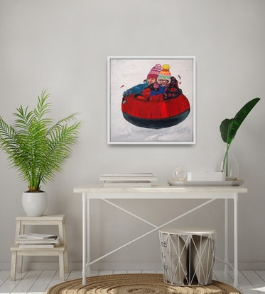 (CreativeWork) Snow Much Fun (Includes Framing) by Tulika Das. Acrylic Paint. Shop online at Bluethumb.