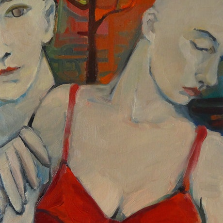 (CreativeWork) Red bra by Liza Merkalova. Oil Paint. Shop online at Bluethumb.