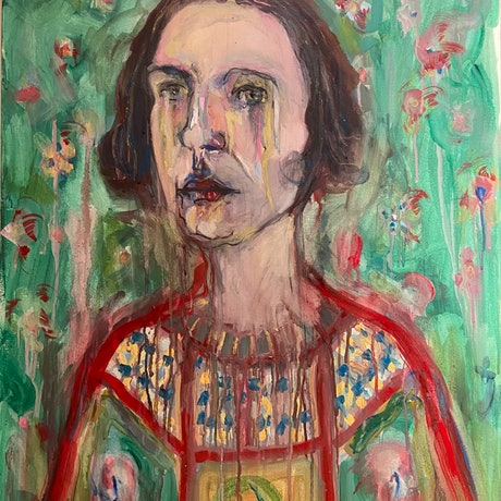 (CreativeWork) Self Portrait with medieval gown and flowers during lockdown by Rachel Grove. Watercolour Paint. Shop online at Bluethumb.