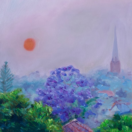 (CreativeWork) Tangerine sun, smokey Sydney morning by fiona smith. Oil Paint. Shop online at Bluethumb.
