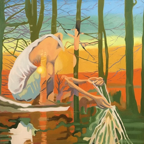 (CreativeWork) Death Is a Fisherman by sara bell. Oil Paint. Shop online at Bluethumb.