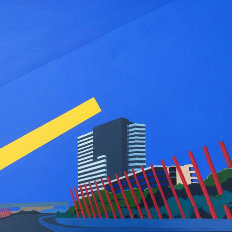(CreativeWork) Cheese Stick Melbourne by Marian Quigley. Acrylic Paint. Shop online at Bluethumb.