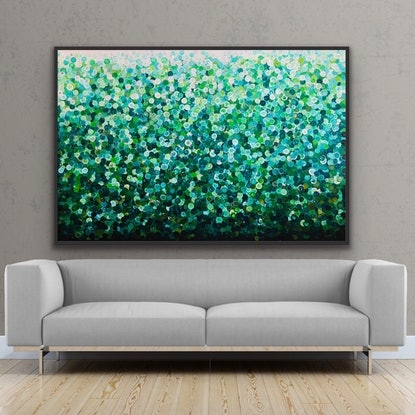 (CreativeWork) Petit pois 153x102 framed large abstract  by Sophie Lawrence. Acrylic Paint. Shop online at Bluethumb.
