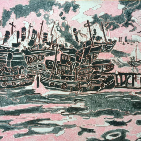 (CreativeWork) Floating Dock and Tugboats (copy J.Perceval by Ray David. Oil Paint. Shop online at Bluethumb.