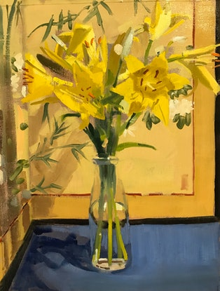 (CreativeWork) Yellow Lillies 1 by Ray Wilson. Oil Paint. Shop online at Bluethumb.