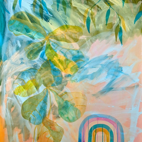 (CreativeWork) Rainbow in the Fiddle leaf fig by Marinka Parnham. Acrylic Paint. Shop online at Bluethumb.
