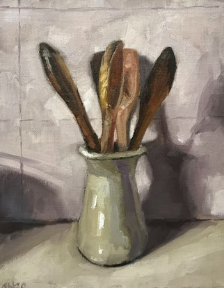 (CreativeWork) Four spoons by James Needham. Oil Paint. Shop online at Bluethumb.
