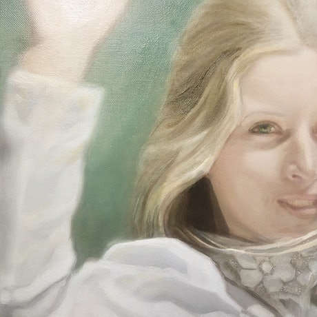 (CreativeWork) Miranda - Picnic at Hanging Rock by Donna Christie. Oil Paint. Shop online at Bluethumb.