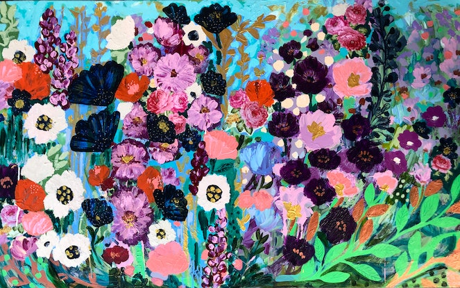(CreativeWork) Sky Blooms by Sandra Oost. Mixed Media. Shop online at Bluethumb.