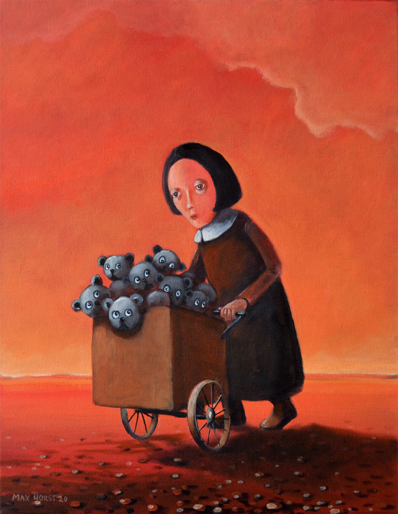 (CreativeWork) Toy seller by Max Horst  Sokolowski. Acrylic Paint. Shop online at Bluethumb.