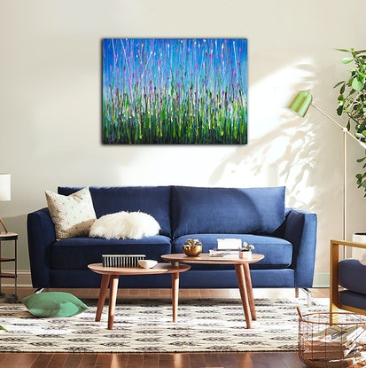 (CreativeWork) Lavender Drops by David Clare. Acrylic Paint. Shop online at Bluethumb.