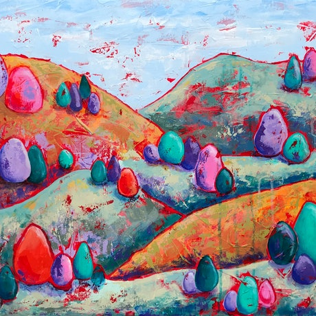 (CreativeWork) Whimsical Hills by Kylee Rees. Acrylic Paint. Shop online at Bluethumb.