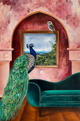 (CreativeWork) Peacock and Kookaburra Commission  by Bonnie Larden. Acrylic Paint. Shop online at Bluethumb.
