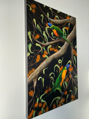 (CreativeWork) Two Lorikeets feasting by Adriana Nascimento. Mixed Media. Shop online at Bluethumb.