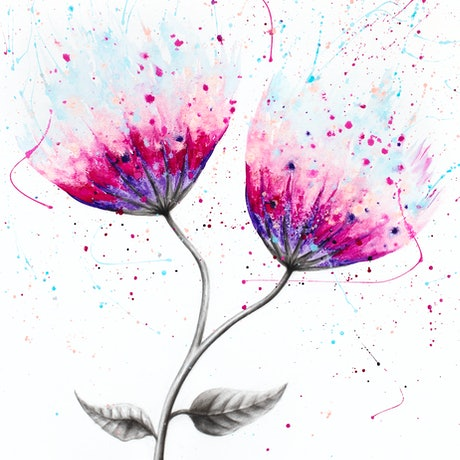 (CreativeWork) Duo Bloom by Ashvin Harrison. Acrylic Paint. Shop online at Bluethumb.