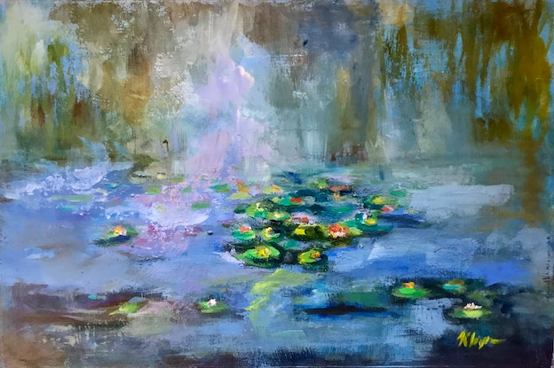(CreativeWork) MAGICAL WATER LILIES by Kryssy Byrne. Oil Paint. Shop online at Bluethumb.