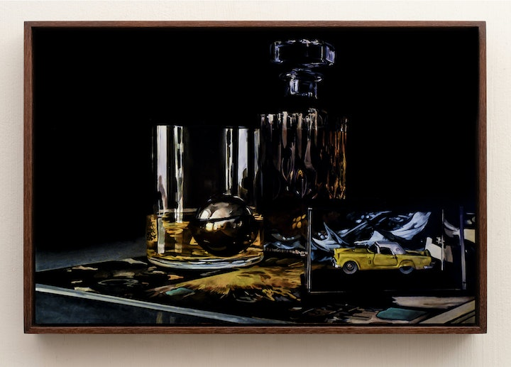 (CreativeWork) Glass Reflections (A) by Jeremy Eden. Oil Paint. Shop online at Bluethumb.
