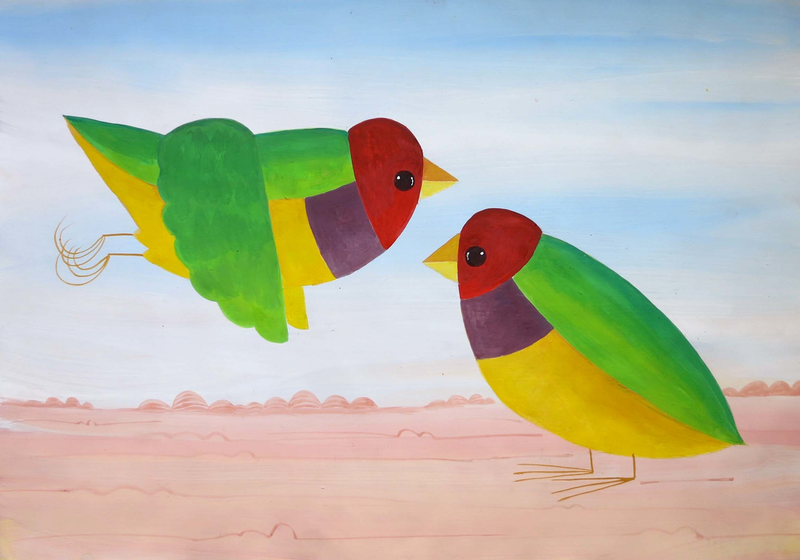 (CreativeWork) Two Gould Finch  by John Graham. Mixed Media. Shop online at Bluethumb.