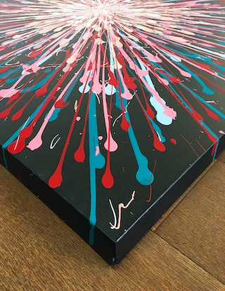 (CreativeWork) Cherry Bomb by David Clare. Acrylic Paint. Shop online at Bluethumb.